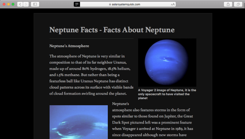 neptune facts night broswer reading
