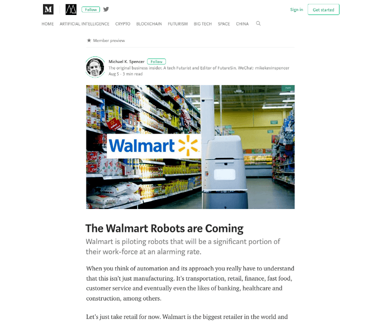 the medium clean webpage design walmart article