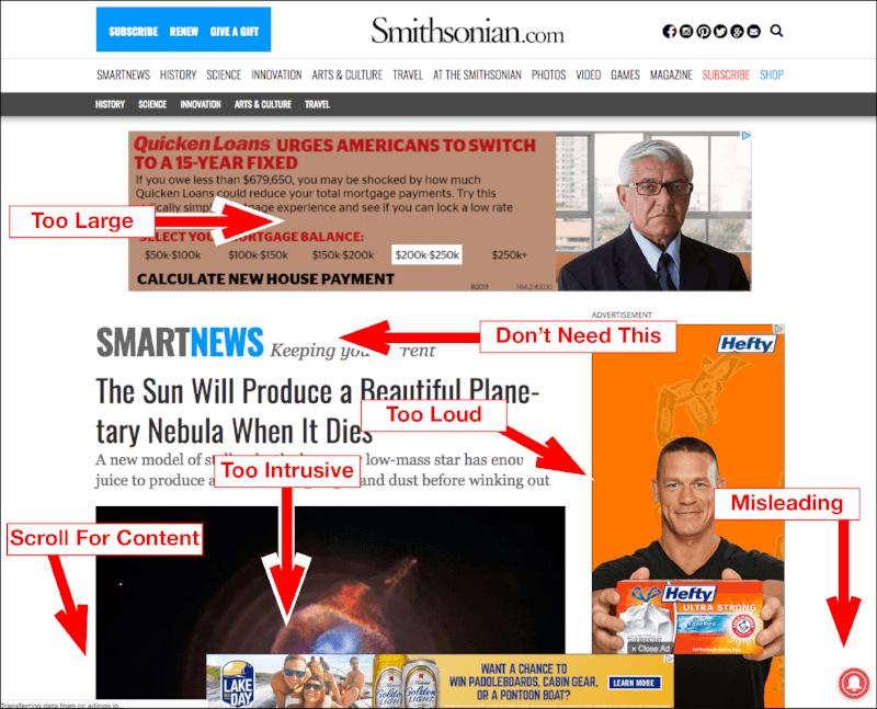 website bad design intrusive ads colors